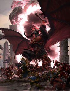 Warhammer age of sigmar epic khorne bloodthirster artwork battle ilustration fantasy 1 High Fantasy, Dark Fantasy Art, Fantasy World, Dark Art, Warhammer 40k Art, Warhammer Fantasy, Fantasy Concept Art, Fantasy Artwork, Fantasy Creatures