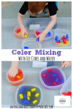 Color Mixing with Ice Cubes and Water Color Mixing with Ice Cubes and Water - FSPDT Kid Science, Preschool Science, Preschool Learning, Learning Activities, Teaching, Science Centers, Summer Science, Physical Science, Science Classroom