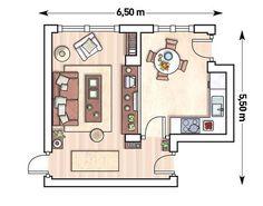 Plano: Cocina abierta al salón con una gran ventana