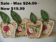 Sale Apple Shape Coasters   Set of 4  Mug Rugs   by LindaHarvey