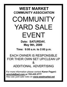Community Garage Sale Flyer Template  Yard Sale