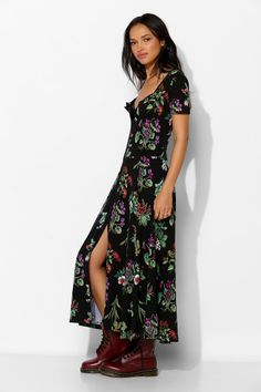 Betsey Johnson Vintage For UO Niki Hook + Eye Maxi Dress - Urban Outfitters