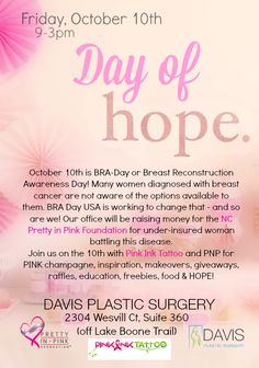 Very excited about our upcoming @drdavisplastic #BraDayusa event for #breastcancer supporting the NC #PrettyinPink Foundation! #Raleigh