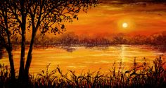 Burning Sunset by AnnMarieBone on DeviantArt Indian Paintings, Easy Paintings, Paintings For Sale, Landscape Paintings, Nature Pictures, Art Tutorials, Creative Art, Fantasy Art, Fine Art Prints