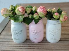 DIY-Anleitung: Upcycling von alten Glasbehältern zu Vasen im used look / DIY tutorial: upcycling old mason jars to creating vases in used look via DaWanda.com
