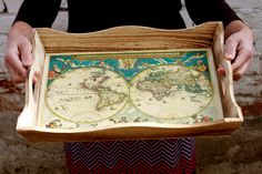"""Serving Tray, Antique map Serving Tray - 15 """"x 13 """"x  2 1/ 2 ',  Hostess gift, Decoupage  Serving Tray, Vintage World map.. $32.00, via Etsy."""