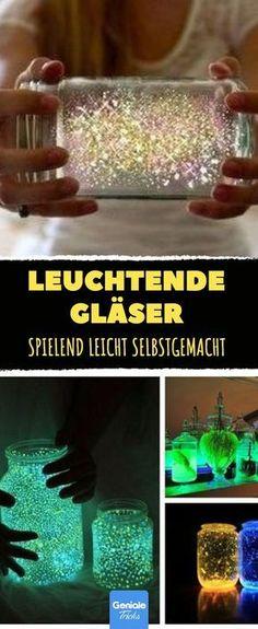 These glowing glasses are easy to make yourself. - These glowing glasses are easy to make yourself. Informations About Diese leuchtenden Gläser sind s - Fun Crafts For Kids, Diy For Kids, Diy And Crafts, Diy Galaxy Jar, Tapas, Diy Cans, Ideas Hogar, Diy Bottle, Jar Lights