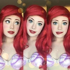 Richard Schaefer has transformed himself into the most beautiful Ariel I've ever seen. Start upping your cosplay game bitches! Disney Cosplay, Ariel Cosplay, Disney Princess Makeup, Disney Makeup, Disney Princess Cosplay, Disney Halloween Makeup, Little Mermaid Makeup, The Little Mermaid, Ariel Makeup