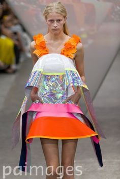 A model on the catwalk during the Fyodor Golan catwalk show in London during London Fashion Week.