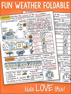 This is a cute interactive notebook so that the students can fill it out and have all the information about weather in one place and keep organized. This would make a good cheat sheet for using weather concepts in class. KR