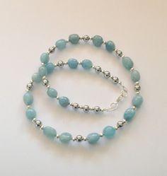 Aquamarine and Hematite Necklace Gemstone by AwfyBrawJewellery