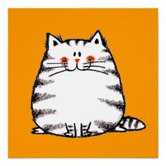 Fuzzy cat illustration, by jsoh Crazy Cat Lady, Crazy Cats, Gato Doodle, I Love Cats, Cute Cats, Silly Cats, Griffonnages Kawaii, Cat Posters, Fuzzy Posters