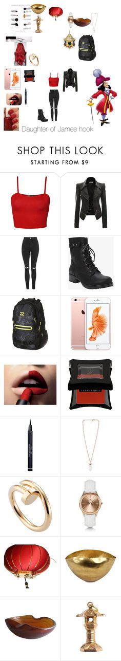 """""""Daughter of Captain Hook"""" by kellibrodockwattpad ❤ liked on Polyvore featuring WearAll, Topshop, Torrid, Billabong, L'Oréal Paris, Essie, Christian Dior, Cartier, Kennett and Charlotte Olympia"""