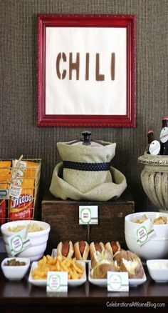 Chili Bar by Celebrations At Home. Lots of ideas for the chili bar on the blog.