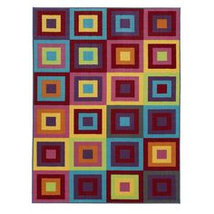 Regan Non-Slip Modern Geometric Red/Purple/Yellow Area Rug