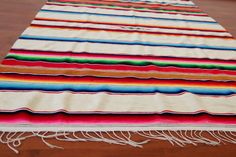 Mexican Saltillo Blanket 1970s Serape Southwest Fringe Striped Hippie Boho Rainbow Cream White Throw Blanket Rug 70s Bohemian Textile Woven