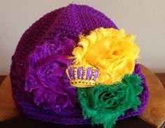 Purple Crochet Kufi Hat/ Beanie for Infants by LaBandeauxBowtique, $10.00