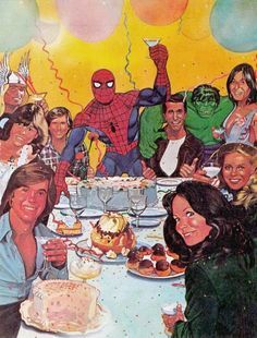 let's party guys! Our special guests: people with a strange hair (it's the eighties!) and spiderman, who drinks with champagne glasses.