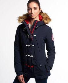 Everest Dufflecoat - Damenjacke mit Kapuze mitluxuriösen Webpelzbesatz an der Kapuze und einen Zwei-Wege-Reißverschluss.