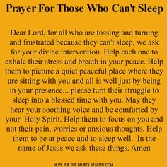 Prayer for those who can't sleep