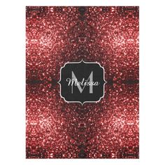 --- UP TO 60% OFF + 20% Off All Orders! Black Friday Week! LAST DAY! Code: ZWEEKOFDEALS --- Beautiful Glamour Red Glitter sparkles Monogram Tablecloth by #PLdesign #RedSparkles #SparklesGift