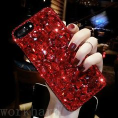 Rhinestone Bling Gril's Diamond Jeweled Crystal Hard Back Phone Case Cover Strass Bling Gril Diamant Jeweled Crystal Hard Back Telefon Fall Deckung Girl Phone Cases, Bling Phone Cases, Glitter Phone Cases, Cell Phone Covers, Diy Phone Case, Cute Phone Cases, Iphone 8 Plus, Iphone 6, 3d Iphone Cases