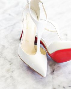 Some shoe love to inspire your weekend wardrobe courtesy of Christian Louboutin. These stark white t-strap heels are perfect for the modern bride! | WedLuxe Magazine | #wedding #luxury #weddinginspiration #luxurywedding #bridal #fashion #shoes #heels #louboutin