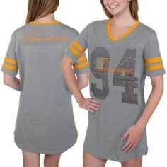 Tennessee Volunteers Women's Script Football Jersey Night Shirt - Gray