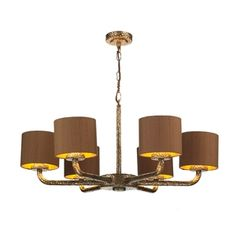 Sloane Bronze 6 Light Pendant with Bespoke Silk Shades