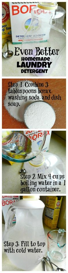 Cheapest and easiest homemade laundry detergent recipe I've seen. This blogger makes all her detergent foran ENTIRE yearforless than 10 dollars. Unbelievable! So glad I found this.