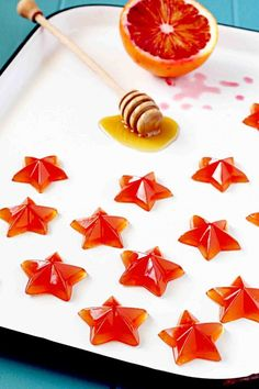 Blood Orange And Honey Gummies Recipe (In Sock Monkey Slippers) Yummy Treats, Sweet Treats, Yummy Food, Homemade Candies, Orange Recipes, Blood Orange, Macaron, Candy Recipes, Kids Meals