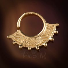Inti Inca Fan Silver Septum Ring for Pierced Nose - 1mm (18g), Tragus Ring, Ornate Septum Ring, Tribal Septum Ring (Code 33) by TRIBALIK on Etsy
