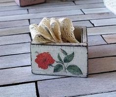 Miniature wooden crate dollhouse flower box by DewdropMinis Dollhouse Accessories, Garden Accessories, Flower Boxes, Flowers, White Chests, Dollhouse Furniture, Dollhouse Miniatures, Hand Stamped, Crates
