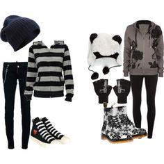 <3 i love both those shoes.... that striped shirt... that beanie.... those pants...  and.........................  THAT PANDA HAT. asldkhafjsdk