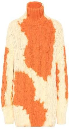 Balenciaga's sweater comes in a casual-cool oversized fit and is detailed with a striking tie-dye print in orange and ivory. The cable-knit design has been spun in Italy from cozy cotton and has a high warming turtleneck. Skins Leggings, Sewing Alterations, High End Fashion, Rag And Bone, Knitting Designs, Cotton Sweater, Cable Knit Sweaters, Alternative Fashion, Sweater Weather