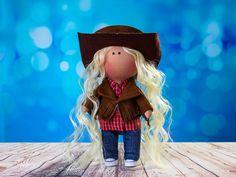 Doll Janine. Tilda doll. Cowboy doll. American Doll. Textile doll. Сollection La Petite. Interior doll. Rag doll. Сute doll. Toy. Soft toy by OwlsUa on Etsy