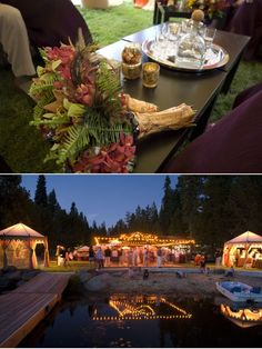 love the outdoor party with various staged tents for food, drinks and dessert
