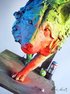 #Loup #streetart by #oliviercourty #wolf #art #artist #sculpture #creation #french #artiste #