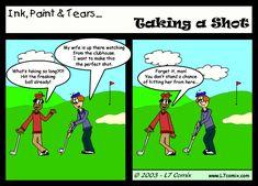 Resultado de imagem para golf sense of humour Funny Comic Strips, Golf Humor, Funny Golf, Golf Lessons, Golf Outfit, Golf Tips, Funny Comics, Laugh Out Loud, Memes