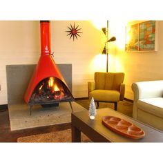 mid century fireplace - חיפוש ב-Google ❤ liked on Polyvore featuring home, home decor and fireplace accessories