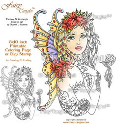 Fay Lily  Fairy Tangles Printable Coloring Book Pages by