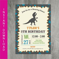 Printable Modern Dinosaur Birthday Invitation FREE Thank You Card