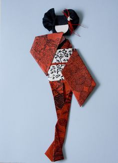 Origami Geisha - Japanese - love the red check the folds at the bottom of the dress