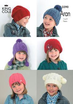 Children\'s hats in king cole comfort aran - 3390 -. Sku 3390. Aran Knitting Patterns, Free Knitting, Baby Knitting, Knit Hat Pattern Easy, Knitted Hats Kids, King Cole, Cute Hats, Crochet Yarn, Etsy