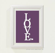 Purple LOVE Nursery decor baby nursery art by SweetSiennaPrints, $18.00