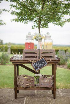 Drinks Station Bar Dispensers Crates Straws Jars Pretty Natural Rustic Woodland Wedding http://riamishaal.com/