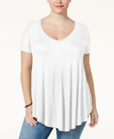 Soprano Trendy Plus Size Swing T-Shirt - White 1X