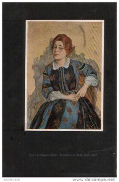 Dame in blauem Kleid - Druck, entnommen aus Velhagen und Klasings- Monatsheften/