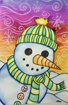 Snowman Painting with Markers & Watercolor Resist!