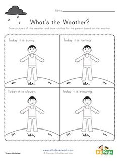 Draw the correct outfit for each type of weather. Weather Worksheets, Science Worksheets, Worksheets For Kids, Printable Activities For Kids, Educational Activities, All Kids, Crafts For Kids, Draw, Type